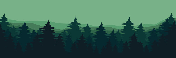 green forest landscape vector flat design illustration good for wallpaper, background, backdrop, web banner, and tourism design template