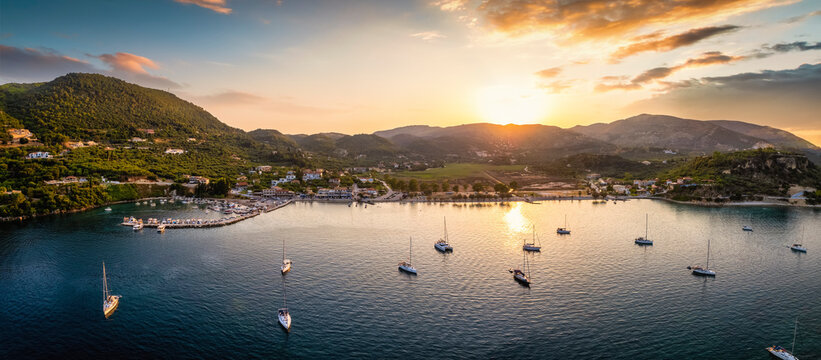 Panoramic aerial view to the idyylic village of Limni Keri, Bay of Laganas, Zakynthos island, Greece, during a summer sunset
