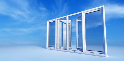 Fototapeta New clear and clean open PCV windows on sunny sky obraz