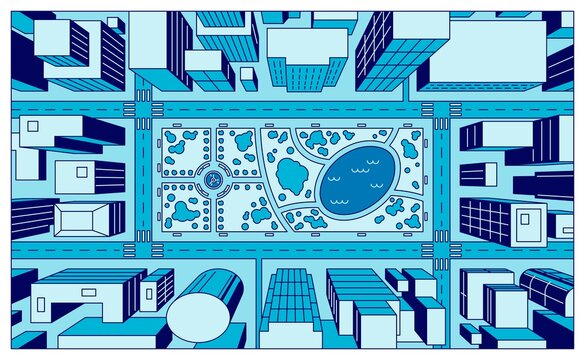 City view from above flat vector illustration