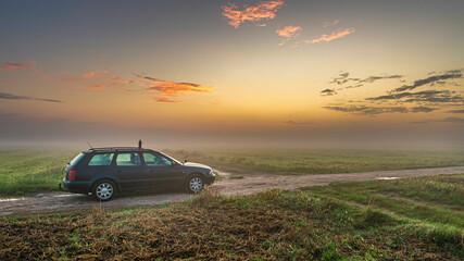 Fototapeta Wschód słońca na polu  obraz