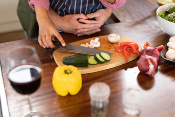 Happy diverse couple in kitchen preparing food together chopping vegetables