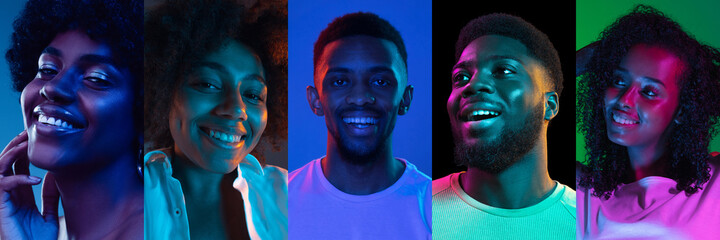 Close-up portraits of group of people on multicolored background in neon light, collage.