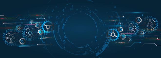 Fototapeta Hi tech made of gears background. Futuristic cogwheels movement illustration. Vector cogwheels modern mechanism. Industrial concept. obraz