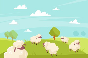 Cute sheeps grazing. Green meadows and blue sky, countryside summer sunny landscape, farm animals outdoors. Cute fluffy ewe in nature background. Rural scene, vector cartoon flat isolated concept