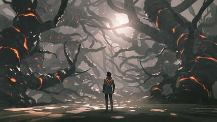 Fototapeta The man standing in a road full of evil trees, digital art style, illustration painting obraz