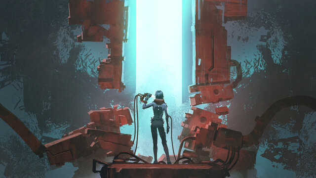 A woman uses futuristic tool to connect to her body, digital art style, illustration painting