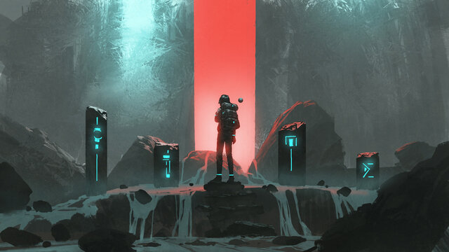 man standing at the sacred stones and looking at the red light in front of him, digital art style, illustration painting