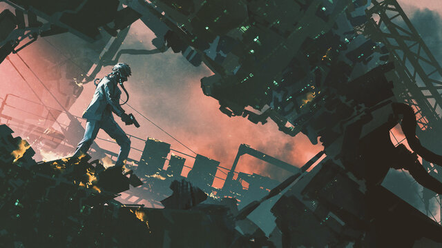 a futuristic man holding a gun in destroyed city, digital art style, illustration painting