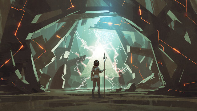 child with spear standing in a cave full of many futuristic stone blocks, digital art style, illustration painting