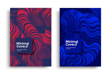 Fototapeta Colorful background with a fluid wave. Striped wavy line compositions for cover, poster, landing page. Minimal 3d abstract illustration. obraz