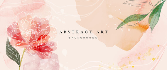 Fototapeta Flower watercolor art background vector. Wallpaper design with floral paint brush line art. leaves and flowers nature design for cover, wall art, invitation, fabric, poster, canvas print. obraz