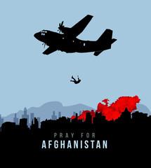 Pray For Afghanistan. Falling man in Plane.