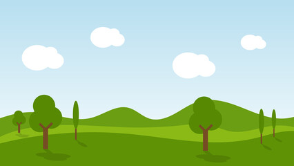 landscape cartoon scene with trees, green grass on hill and white cloud in summer blue sky background