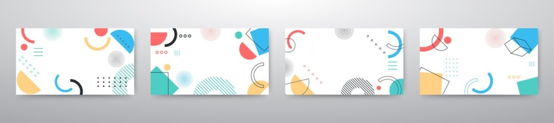 Fototapeta Memphis design elements mega set. Vector abstract geometric line graphic shapes, modern hipster circle triangle template colorful illustration obraz