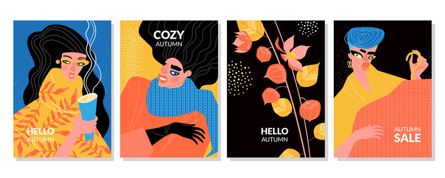 Hello autumn set of vector illustrations for cards and flyers with girls in warm clothes.