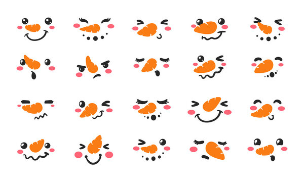 Snowman face set. snowball face decoration vector in the winter of Christmas