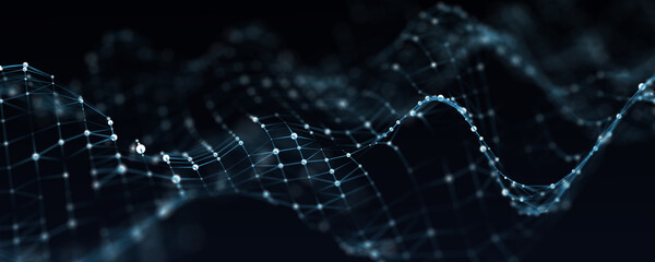 Digital dynamic wave. Abstract futuristic blue background with dots and lines. Big data visualization. 3D rendering.