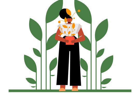 Woman gardener with a plant, nature. Agriculture, passion, hobby. Concept on ecology, zero waste and sustainability. Flat vector illustration isolated on white background