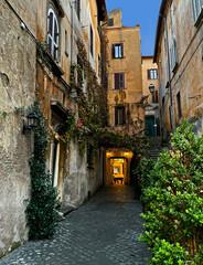 Smalle steeg en toegang tot historische gebouwen