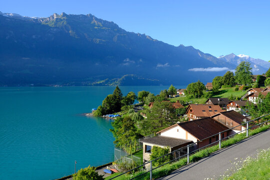 Oberreid village and lakefront, Brienzersee, Switzerland