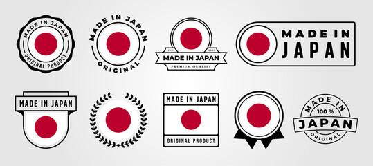 Fototapeta made in japan vector set logo symbol illustration design, japanese label bundle design obraz