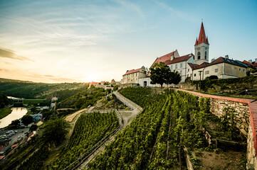 Obraz Gothic Church of St. Nicholas, Kostel svateho Mikulase. Historic town Znojmo, South Moravia, Czech Republic. Vineyards  region. - fototapety do salonu