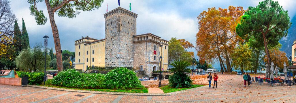 medieval Castle of northern Italy. Lake Lago di Grada, Riva del Garda town, Rocca di Riva castle. november 2020