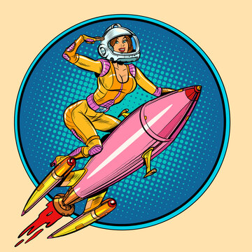 Pinup female astronaut flying on a rocket, a woman in space. Science fiction