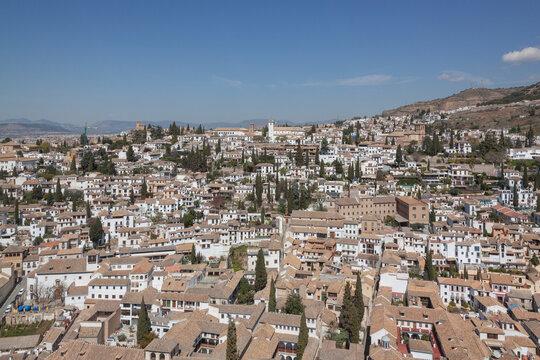 Aerial view across Arab quarter in Granada, Andalusia, Spain