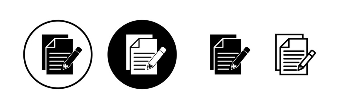 Note icons set. Taking note icon vector. Edit line icon. Document write. Content writing