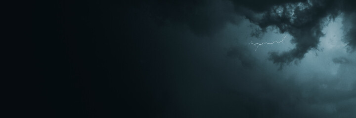 Stormy night sky in the countryside social banner