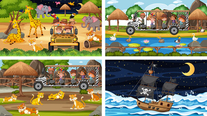 Set of different scenes with animals in the zoo and pirate ship at the sea