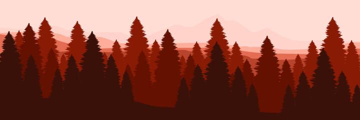 Obraz forest mountain flat design vector banner template good for web banner, ads banner, tourism banner, wallpaper, background template, and adventure design backdrop - fototapety do salonu