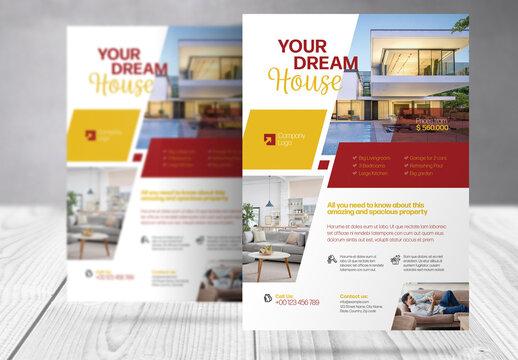 Real Estate Flyer with Yellow and Red  Accents