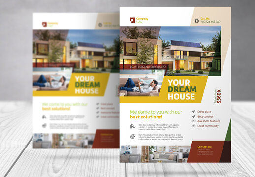 Real Estate Flyer with Yellow, Brown and Green  Accents