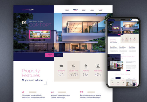 Real Estate Agency Website with Blue and Pink Accents
