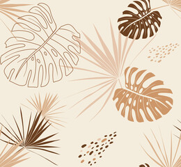 Delicate seamless pattern in beige shades with palm branches and monstera leaves in boho style in vector for textiles and surface design