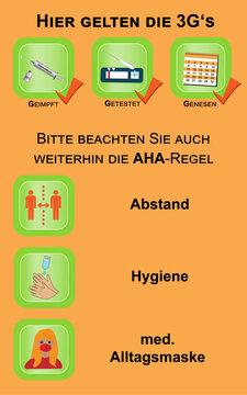 Informationsschild mit der 3G- und Aha Regel. Vektor