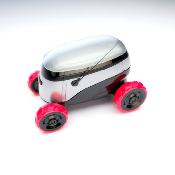 Automated Delivery Robot Service . Modern Smart Wireless Robot Delivers Goods or Food to a Customer. New Technological Iot Business Industry of Delivery Logistic of Online Shop. 3d illustration