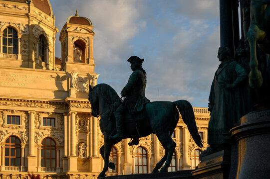 A horseman statue at the Maria Theresa Monument, Vienna, Austria