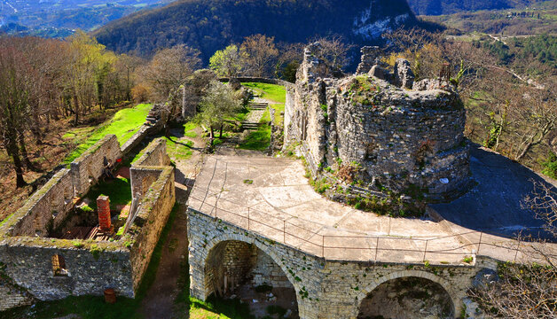 Ruins of the church of St. Theodore Tiron on the Iverian Mount. New Athos, Abkhazia