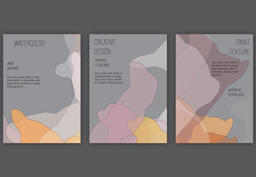 Flyer Layout with Abstract Overlapping Pastel Transparent Shapes