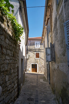 deserted alley in the historical old town of Krk on the island of Krk in Croatia