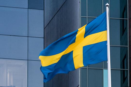 swedish flag on sky