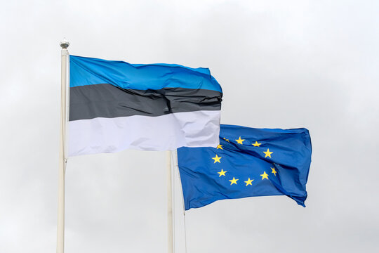 Estonian and European Union flag