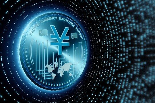 Yuan DCEP digital currency, conceptual illustration