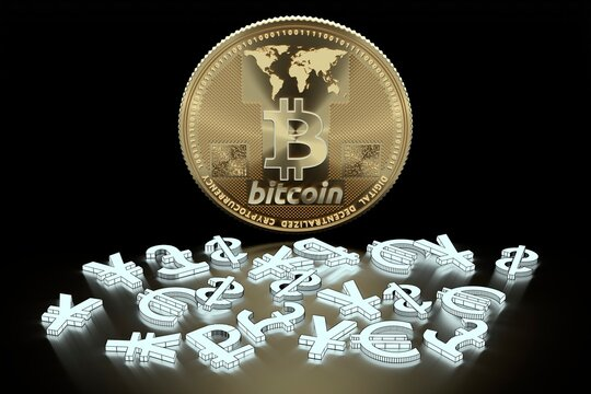 Bitcoin and currency symbols, illustration