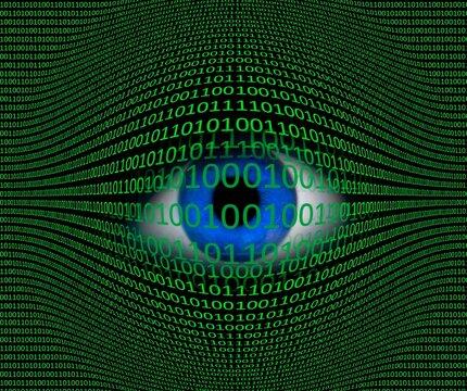 Eye and binary code, composite image