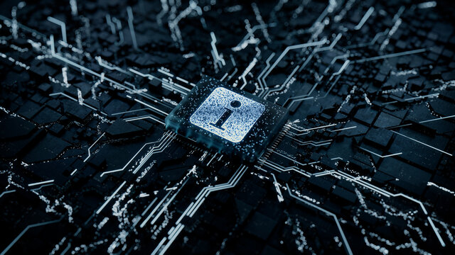 Information Technology Concept with info symbol on a Microchip. Data flows from the CPU across a Futuristic Motherboard. 3D render.